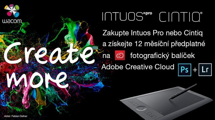 Create More 2016 – k tabletům Wacom zdarma Adobe Creative Cloud Photography Plan
