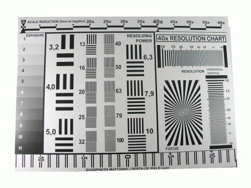 Rozlišovací tabulka pro digitální a filmové fotoaparáty RESfd