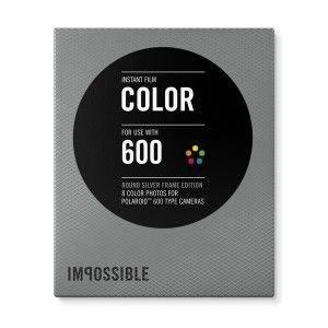 IMPOSSIBLE barevný film pro Polaroid 600/8ks Round Silver Frame