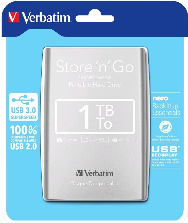 """VERBATIM HDD 2,5"""" 1TB USB 3.0 stříbrný"""