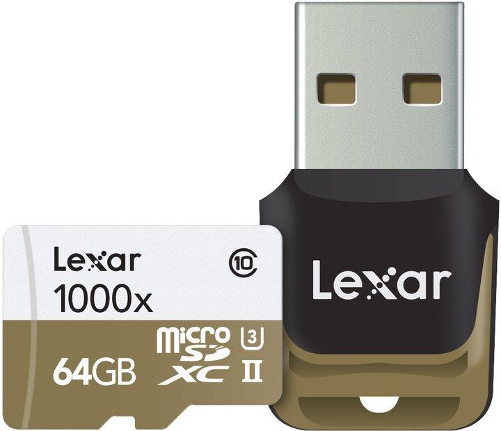 LEXAR microSDXC 64GB UHS-II 1000x s čtečkou USB