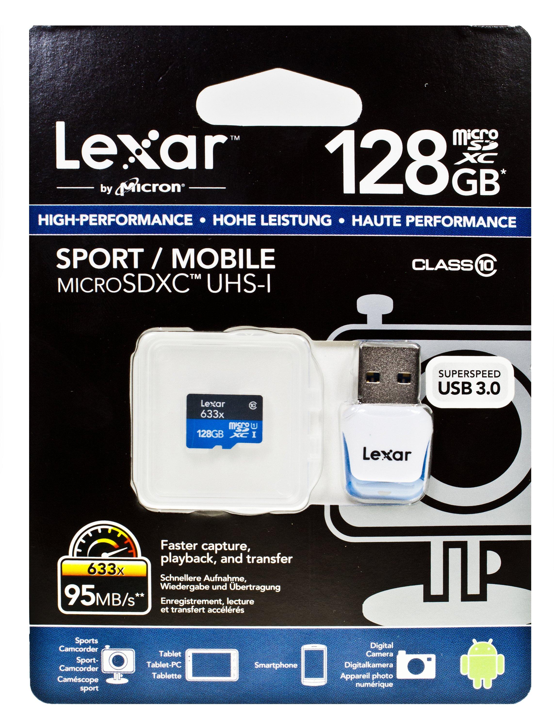 LEXAR microSDXC 128GB Class 10 633x UHS-1 s adaptérem