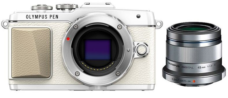 OLYMPUS E-PL7 bílý + 14-42 stříbrný + 45 mm stříbrný Flatlay portrét kit