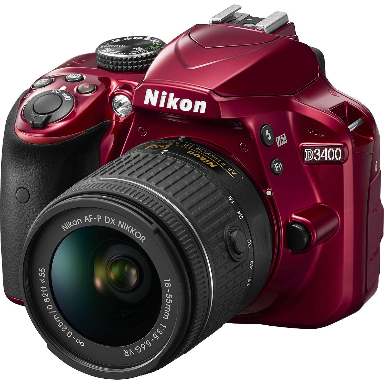 NIKON D3400 červený + 18-55 AF-P VR + Cashback 1350 Kč