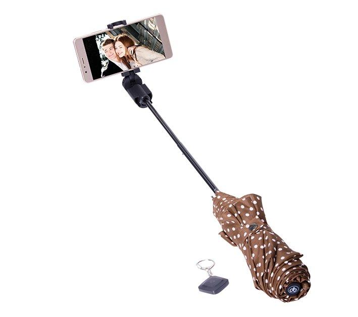 PAPALER deštník s integrovanou bluetoth selfie - hnědý s puntíky AKCE