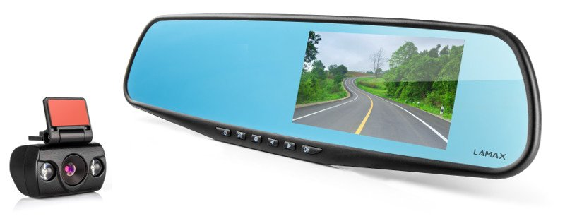 LAMAX DRIVE C5 DUAL - Zadní kamera do auta se zpětným zrcátkem