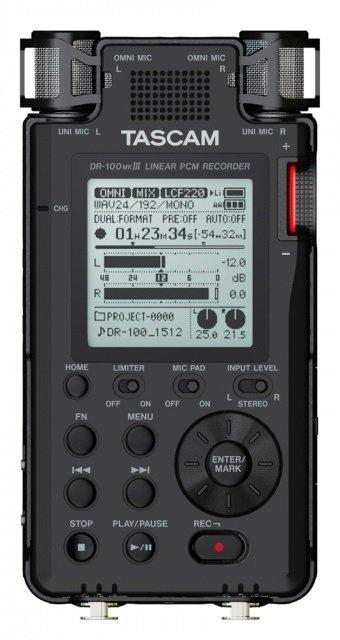 TASCAM DR-100MKIII ruční rekordér, 4 mikrofony, MP3 a WAV podpora,