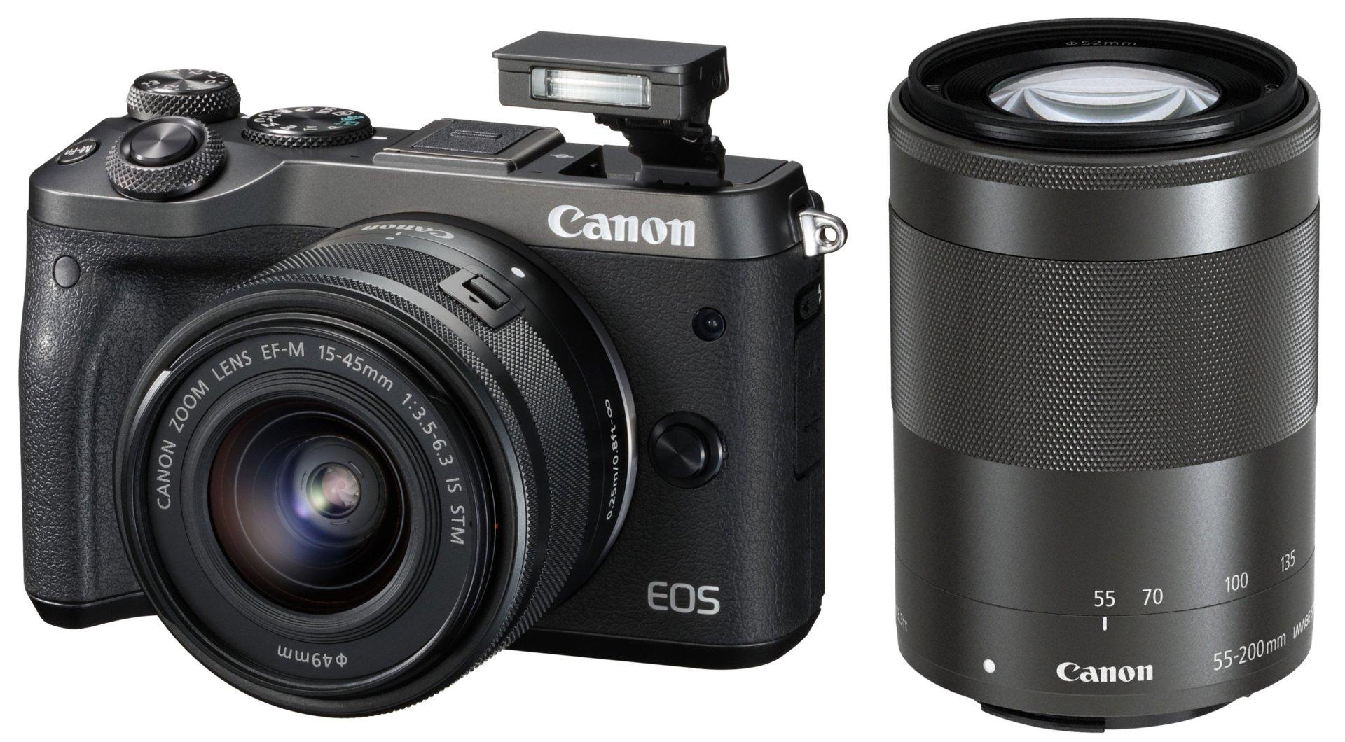 CANON EOS M6 černý + 15-45 mm + 55-200 mm