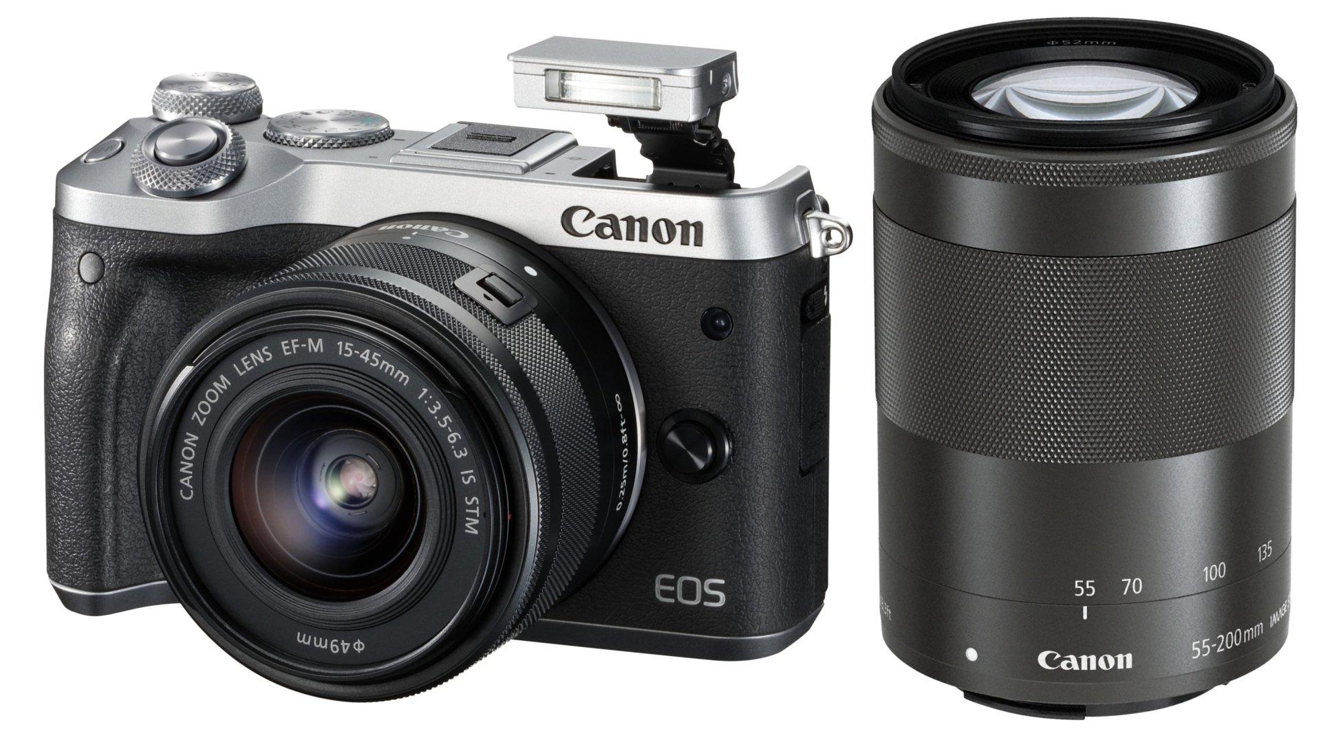 CANON EOS M6 stříbrný + 15-45 mm + 55-200 mm