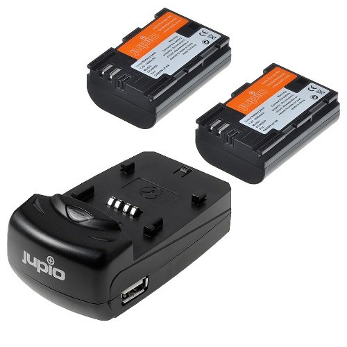 JUPIO Single Charger + 2 x CANON LP-E6 1700mAh