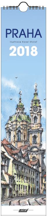 Kalendář Leon - PRAHA 2018 akvarel nástěnný úzký