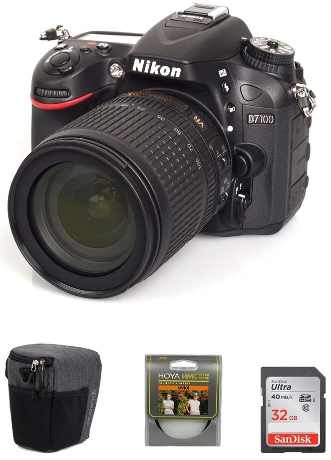 NIKON D7100 + 18-105 mm VR + SDHC 32GB Ultra + UV filtr Hoya + brašna Tamrac