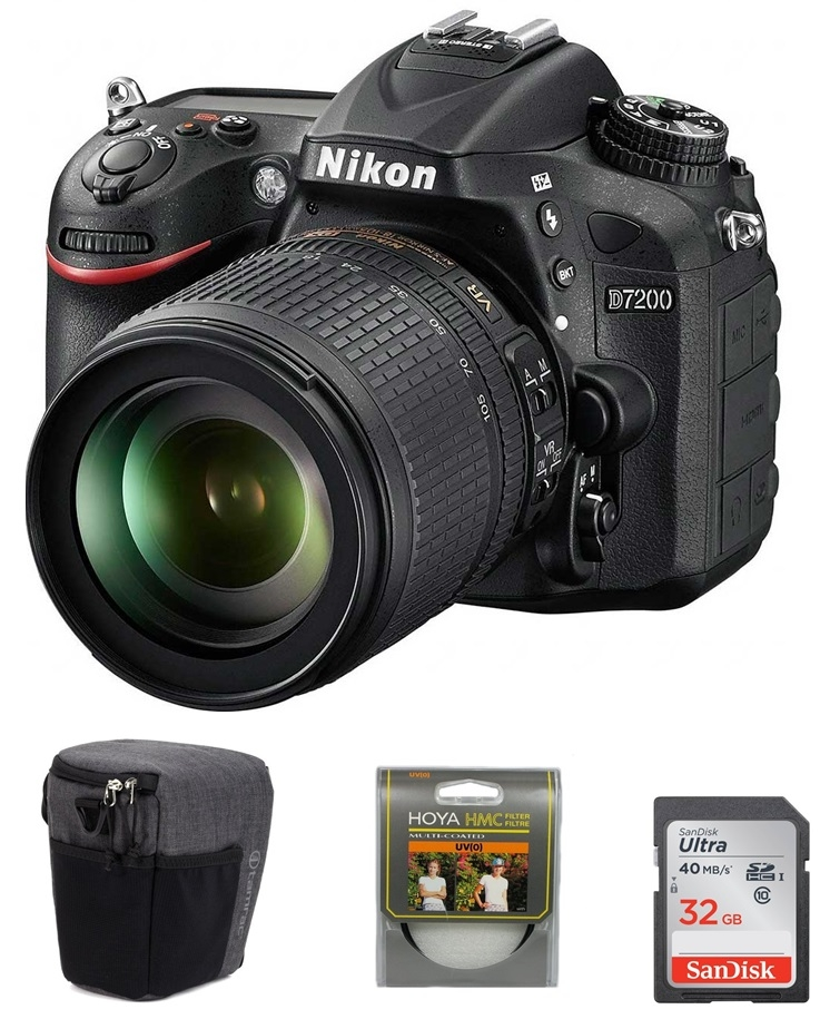 NIKON D7200 + 18-105 mm VR + SDHC 32GB Ultra + UV filtr Hoya + brašna Tamrac