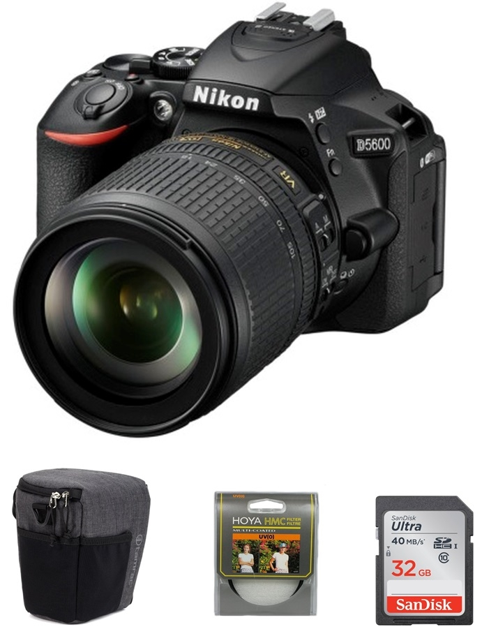 NIKON D5600 + 18-105 mm VR + SDHC 32GB Ultra + UV filtr Hoya + brašna Tamrac