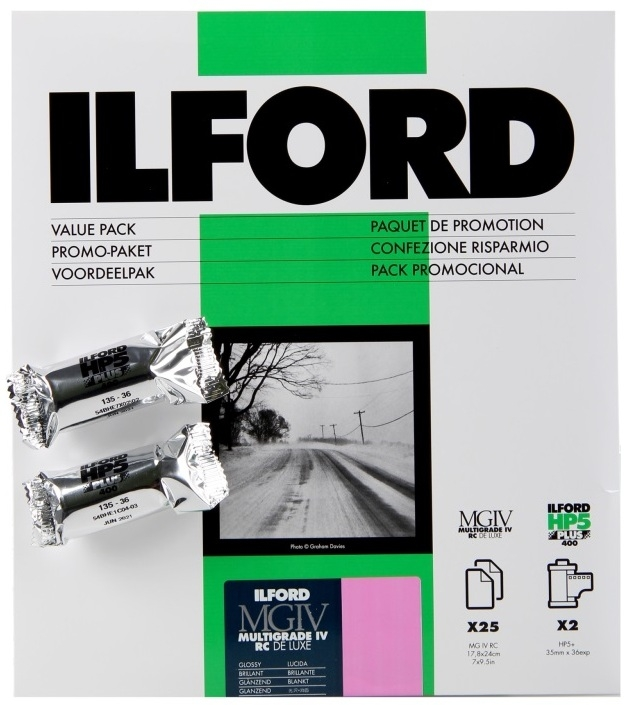ILFORD MG IV RC 18x24/25 1M lesk + 2x HP5 135/36, promo kit