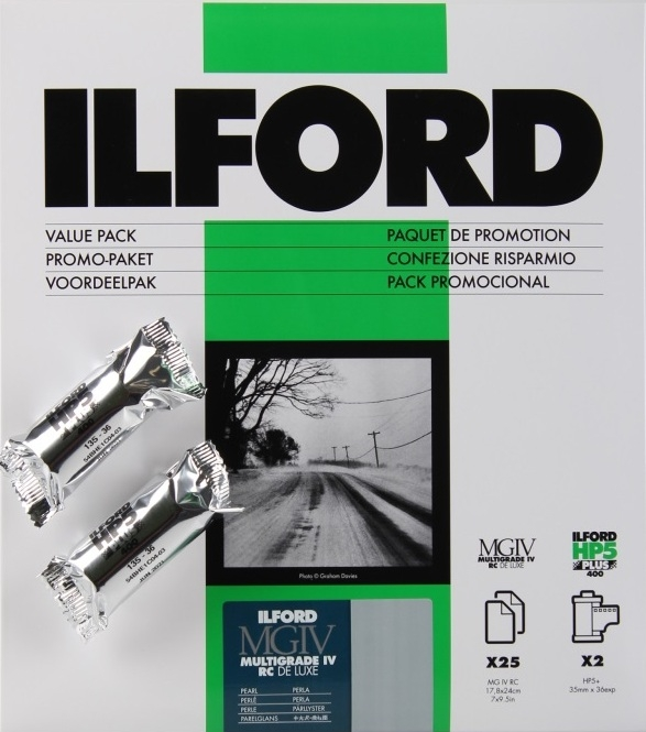 ILFORD MG IV RC 18x24/25 44M pearl + 2x HP5 135/36, promo kit