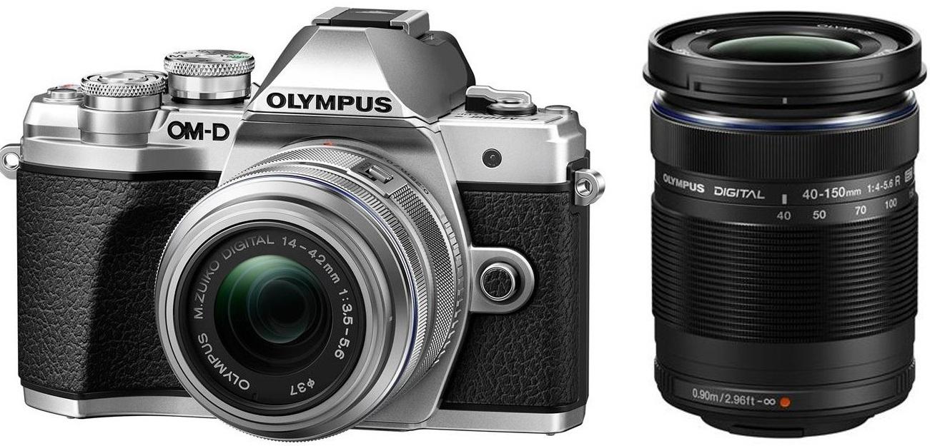 OLYMPUS E-M10 Mark III stříbrný + 14-42 IIR stříbrný + 40-150R stříbrný