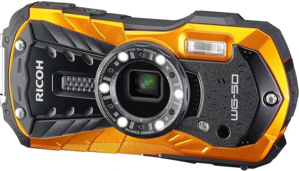 RICOH WG-50 oranžový+plovací poutko+neoprénové pouzdro