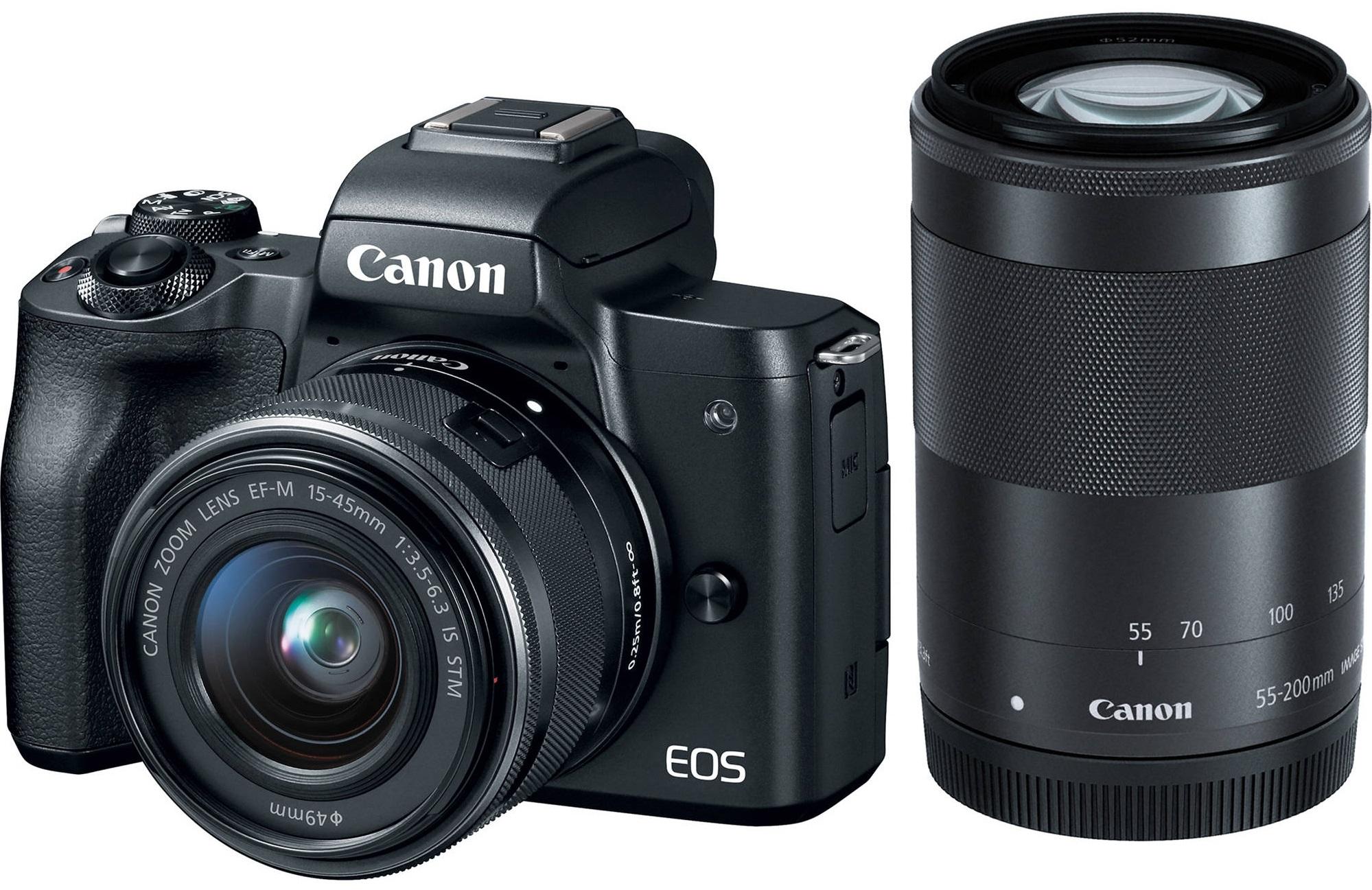 CANON EOS M50 černý + 15-45 mm + 55-200 mm