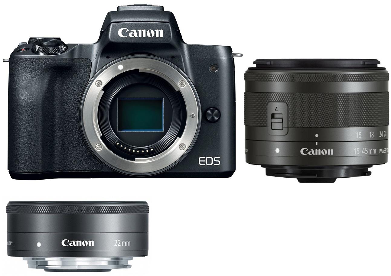 CANON EOS M50 černý + 15-45 mm + 22 mm