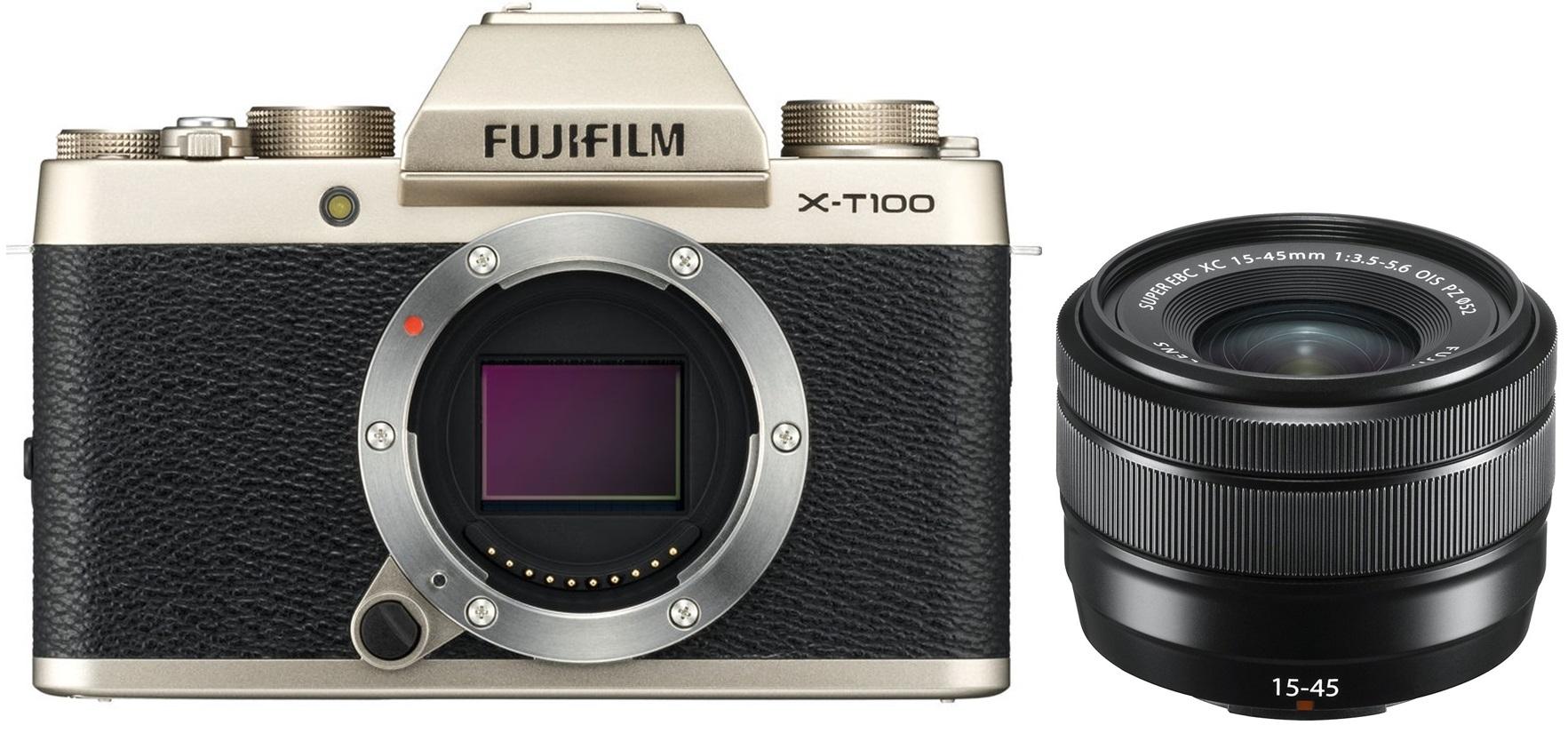 FUJIFILM X-T100 zlatý + XC 15-45 mm