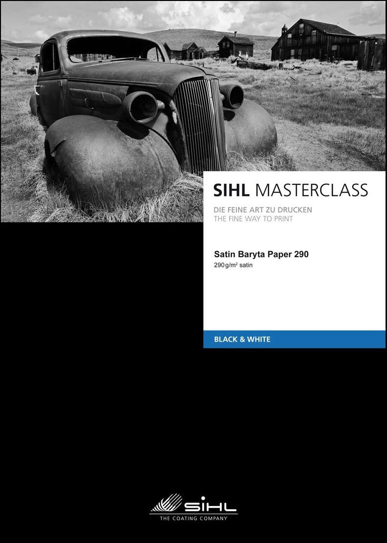 SIHL inkjet A2/25 Satin Baryta Black and white 290g