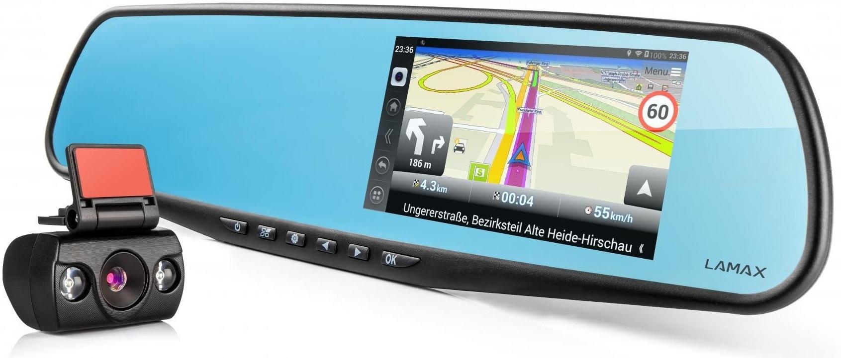 LAMAX DRIVE S5 Navi+ kamera do auta se zpětným zrcátkem