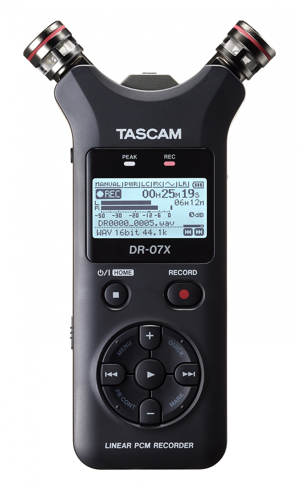 TASCAM DR-07X kompaktní ruční rekordér, 2 mikrofony (A/B,X/Y)