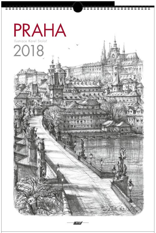 Kalendář Leon - PRAHA 2018 grafika nástěnný střední